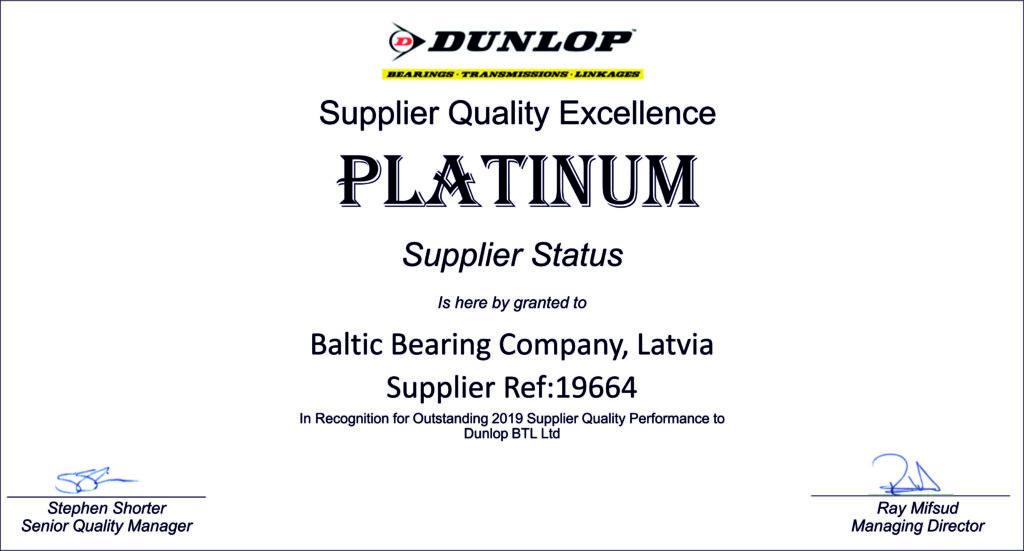 Granted as platinum supplier status