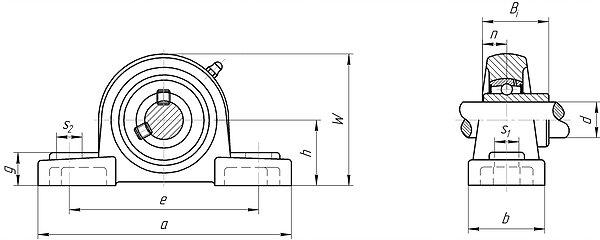 Mounted bearing unit ucp200 and ucp300 series pillow block
