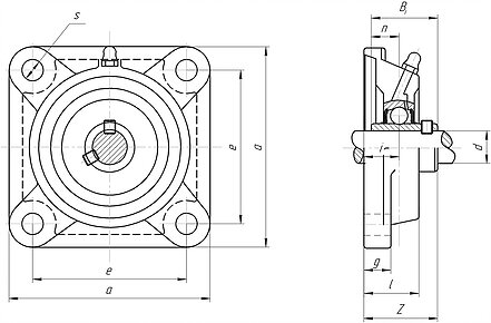 Mounted bearing unit ucf200 and ucf300 series 4-bolt flanged square unit