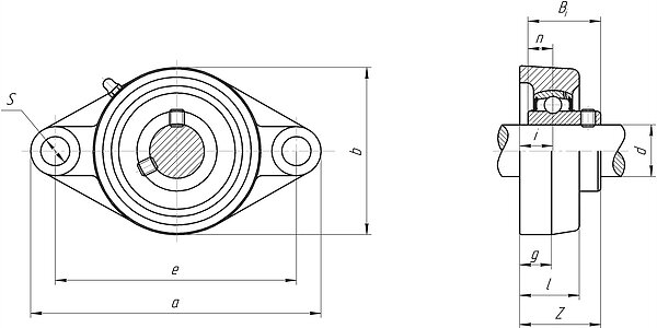 Mounted bearing unit ucfl200 and ucfl300 series 2-bolt flanged oval unit