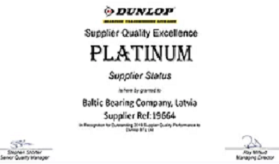 Granted as platinum supplier status